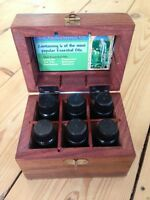 AROMATHERAPY KIT WOODEN BOX 6 ESSENTIAL OILS THERAPY FRAGRANCE MASSAGE HOLISTIC