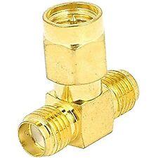 SMA Male to Two SMA Female Plug RF Coax Tee Connector Gold Tone High Quality Qu
