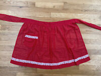Vintage Apron Red White Polka Dot Lace Pocket Super Cute!