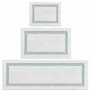 mDesign Microfiber Polyester Bathroom Spa Mat Rugs/Runner, Set of 3 - White/Blue