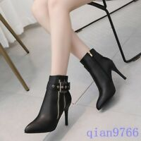 Womens Chic High Slim Heels Pointed Toe Stilettos Ankle Boots Buckle Strap Shoes