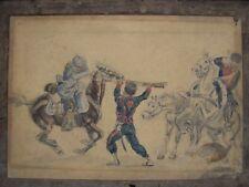 Dessin aquarelle - combat guerre 1870-71- second empire