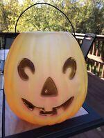 """VTG JOL Pumpkin 11"""" Halloween Blow Mold Trick or Treat Candy Bucket/Pail"""