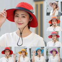 Women Outdoor UV Protection Cap Foldable Adjustable Wide Brim Beach Fishing Hat