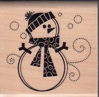 "snowman inkadinkado Wood Mounted Rubber Stamp 2 x 2""  Free Shipping"
