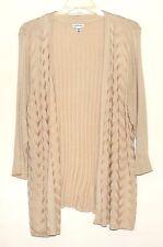 Croft & Barrow Beige Rayon Rib Striped Womens Long Swing Sweater Plus Size 3X