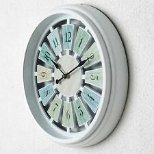 "Nice Analog Wall Clock Wooden Metal Rustic Blue Green 12"" Shabby Chic Farmhouse"