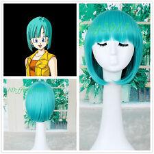 Women DragonBall Bulma Cosplay Green Blue Short Straight Bob Neat Bang Wig