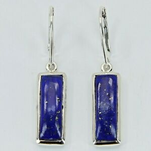 Natural Blue LAPIS LAZULI Square Earrings 925 STERLING SILVER Leverback #14