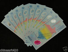 10 Pieces Romania Polymer Plastic Banknotes 2000 Lei 1999 UNC