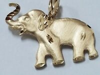 Solid 14k Yellow Gold Elephant Pendant Satin Diamond Cut Trunk Up For Good Luck