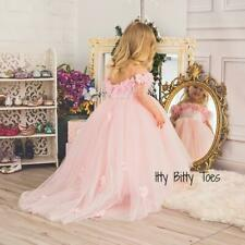 Nicolina Pink Itty Bitty Toes 3D Soft Tulle Floral Baby Toddler Dress 1 yr old