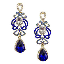 ELEGANT ZARA DESIGNER RUNWAY SAPPHIRE BLUE CLEAR SPARKLING 3'' EARRINGS WEDDING