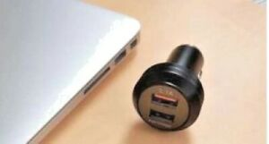 12/24 V Socket Car Charger Dual USB Port Quick Charge 31 A Size 62 mm x 34 mm