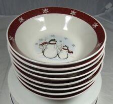 "Royal Seasons Snowman Christmas 6.75"" Soup/Cereal Bowls Lot of 8"