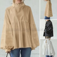 Women Casual O Neck Long Sleeve Shirt Pleated Tunic Solid Loose Tops Blouse Plus