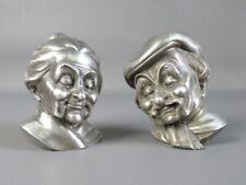 2 Vintage Statue Busts in Pewter Plated Silver Woman and Man Elder