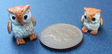 1:12 Polymer Clay Parent & Baby Brown Owl Dolls House Miniature Garden Bird B