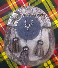 SH Scottish Dress Black Leather Kilt Sporrans Sealskin Antique Candel Stag Head