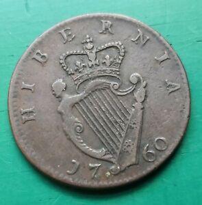 1760 Irish copper Halfpenny George II coin#239