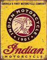 Indian Motorcycle Vintage Metal Tin Ad Sign Picture Garage Repair Bike Shop Gift