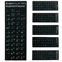 Black Standard Keyboard Stickers For Spanish/Arabic/English/French/Korean O5N8