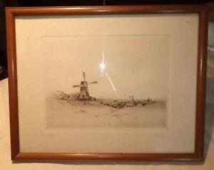 Engraving/print /pen & ink landscape of 'the mill'  signed  antique12 x 9 framed