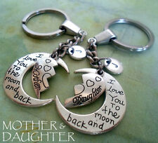Mother Daughter I Love You to the Moon and Back set of 2 keychains, half-hearts