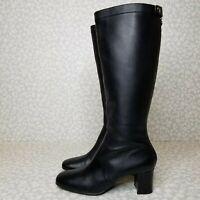 Tahari DEVON Black Leather Tall Chunky Heel Zip Boots Size 9.5