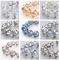 Electroplate Glass Bead Strands Half Plated Faceted Round Multi-Color
