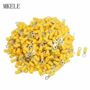 500PCS RV5.5-5 12-10AWG Yellow Sleeve Pre Insulated Ring Terminals Connector