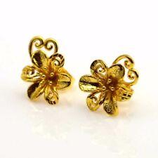 24k Yellow Gold Filled Earrings 12mm Flower Heart Stud GF Charm Costume Jewelry