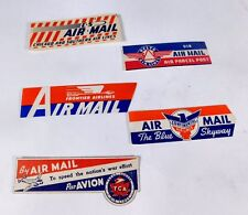 """(B)  """"SHIP VIA AIRMAIL""""   FIVE  STICKERS,  ASSORTED  AIRLINE  MARKED"""