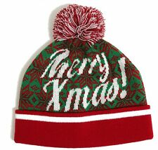 MENS MERRY XMAS FUN BOBBLE BEANIE CHRISTMAS HAT RED AND GREEN ONE SIZE
