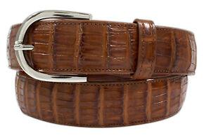 Genuine Handmade Cognac Alligator Leather Belt (Made in U.S.A)