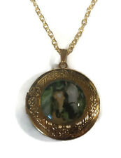 Horse Animal Cabochon LOCKET Pendant Gold Chain Necklace USA Shipper #154