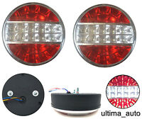 2x LED CHROME ROUND REAR TAIL LIGHTS REVERSE STOP TRAILER TRUCK TIPPER LORRY 24V
