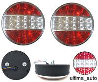 2x LED Cromado Redondo Trasero Luces Marcha Atrás Freno Remolque Camión Punta