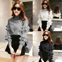 Korean Womens Ruffled Shirt Casual Tees Solid Loose Slim Fashion Blouse Tops