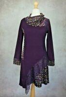 Joe Browns Purple Tunic Dress Size UK 12 Lace Embellishements Long Sleeve