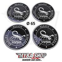 4x Silikon Aufkleber für Nabenkappen ∅= 65mm Embleme Sticker | Scorpion
