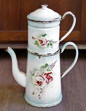 37cm antike Kaffeekanne Emaille Siebeinsatz Frankreich um 1900 Deko orig. Patina