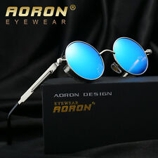 4aadcb74c9 Polarized Steampunk Vintage Round Mirrored Sunglasses Retro Fashion Eyewear