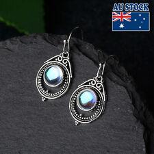 Vintage Boho 925 Silver Plated Moonstone Tear Drop Dangly Hook Earrings