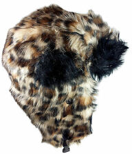 Dakota Dan Faux Leopard Fur Winter Trapper Hat Fur Ski Cap Bomber Hat Trooper