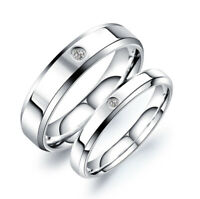 Fashion Silver Stainless Steel Couples Ring Engagement Wedding Bands Jewelry