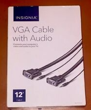Insignia- VGA 12' Cable With Audio -Black - New !!!