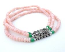 Pink Opal Three Strand Bracelet with Vintage Sterling Silver Cherry Blossom Art