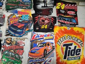 LOT OF 35 NASCAR T SHIRTS SOME VTG 90s TEES CHASE ALL OVER PRINT TIDE EARNHARDT