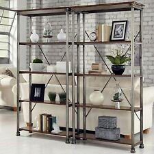 2 Piece Brown Metal 4-Shelf Bookcase Etagere Set Home Living Furniture Storage